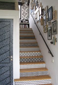 This staircase, located at Peacock Pavilions in Marrakesh, was hand stenciled by Royal Design Studio. You can buy the stencils through their website, and do it yourself. How to Get the Look of Patterned Cement and Encaustic Tile for Less House Design, Deco, Interior Design, House Interior, House, Home, Interior, Home Decor, Stenciled Stairs