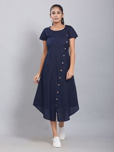 Dresses for Women : Buy Designer & Party Wear Dresses Online - The Loom Simple Kurti Designs, Kurta Designs Women, Kurti Neck Designs, Dress Neck Designs, Blouse Designs, High Neck Kurti Design, Churidhar Designs, Simple Frocks, Casual Frocks