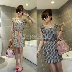$ 4.85 Korean Women Leisure Round Collar Sleeveless Vest Dress Dresses 2Patterns