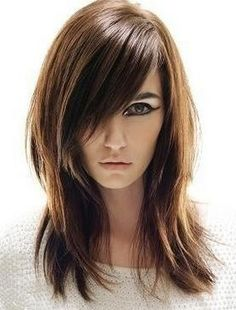This is really my haircut, but mine is longer, my hair is black and only sometimes do I cover 1/2 my face.