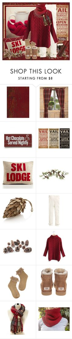 """First Snow"" by halebugg ❤ liked on Polyvore featuring Alpine, Mountain Lodge, Alexandra Ferguson, Crate and Barrel, H&M, Knud Nielsen Company, Chicwish, UGG Australia, Charlotte Russe and cozy"