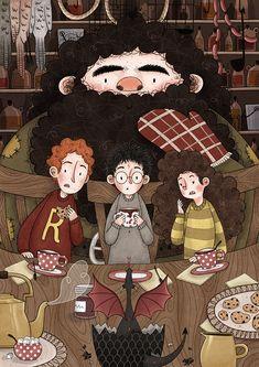 Harry Potter Illustrations Part 1 on Behance Hery Potter, Cumpleaños Harry Potter, Harry Potter Artwork, Harry Potter Drawings, Harry Potter Anime, Harry Potter Pictures, Harry Potter Wallpaper, Potter Facts, Rúbeo Hagrid