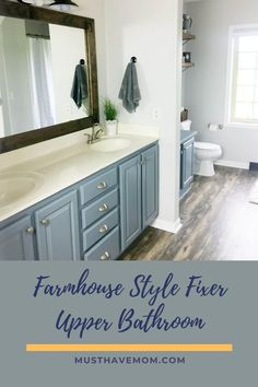 Fixer-upper bathroom with before and after photos. Get this look with this farmhouse bathroom DIY tutorial! DIY Farmhouse bathroom is so easy to do. @MustHaveMom Farmhouse Kitchen Decor, Farmhouse Style Decorating, Farmhouse Ideas, Budget Bathroom, Fixer Upper, Diy Tutorial, Ladder, Brown Leather, Walmart