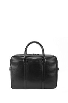 d4938f1c1e Italian-made BOSS laptop bag in finely-textured leather. This bag is  fastened