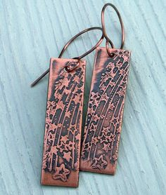 Etched copper Shooting Stars earrings
