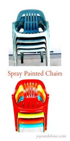 Spray-painted outdoor plastic chairs | Jojo and Eloise