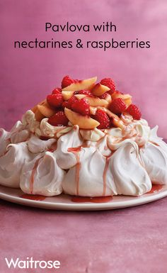 A classic pavlova is always a hit and particularly good for larger gatherings. In our recipe, the ripe nectarines are steeped in a rosé syrup then tossed with raspberries before being piled on top of a luscious mountain of cream and meringue. See the full recipe on the Waitrose website.