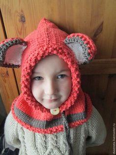 """Купить Вязаная шапка снуд """"Мишка"""" - вязаная шапка снуд мишка, шапка для девочки"""