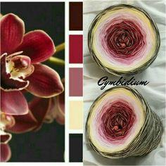 Cymbidium: Hochbausch: 7 Farben Mix: marone weinrot altrosa rosa natur vanille braun (hier als Beispiel mit 1 Faden Merino natur durchgehend gewickelt)