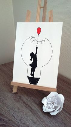 """Poster Illustration Black and white light bulb """"the red balloon""""- Affiche Illustration Noir et blanc ampoule """"le ballon rouge"""" Poster Illustration Black and white bulb the balloon - Girl Drawing Sketches, Cool Art Drawings, Pencil Art Drawings, Disney Drawings, Drawing Art, Pretty Easy Drawings, Ballon Drawing, Ballon Painting, Poster Drawing"""