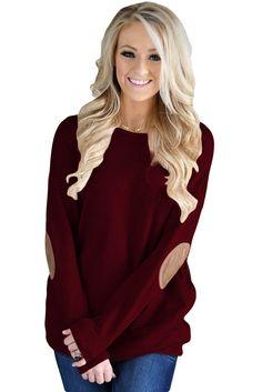 Burgundy Elbow Patch Sweatshirt