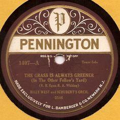 "Pennington ""The grass is always greener"" 1407-A 78rpm"