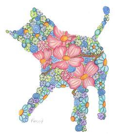 Girls Art Print 8 x 10 Playful Kitty Nursery Art Decor Child's Room Floral Art Sweet Art. $14.95, via Etsy.