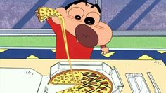 With pizza :) Sinchan Cartoon, Cartoon Quotes, Cartoon Characters, Cute Illustration, Character Illustration, Sinchan Wallpaper, Pizza Art, Crayon Shin Chan, Dark Art Drawings