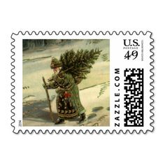 Vintage Christmas, Santa Claus Carrying a Tree Postage Stamps