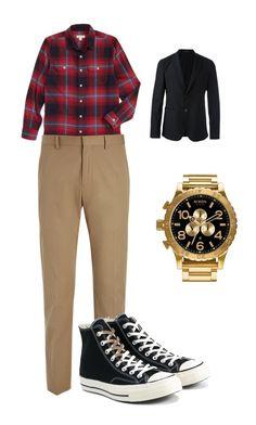 """Grant gustin style"" by bakershepardjakhiya on Polyvore featuring Tucker + Tate, Joseph, Converse, Nixon, Emporio Armani, men's fashion and menswear"