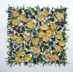 Primroses and Violets by Anne Honeyman Free Motion Embroidery, Free Machine Embroidery, Embroidery Thread, Embroidery Applique, Embroidery Designs, Natural Form Artists, Natural Forms, Textiles Techniques, Embroidery Techniques