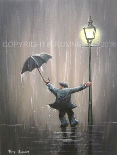 PETE-RUMNEY-FINE-ART-BUY-ORIGINAL-OIL-ACRYLIC-PAINTING-SINGING-IN-THE-RAIN