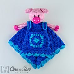 Eddie the Piggy Security Blanket Crochet Pattern from One and Two Company