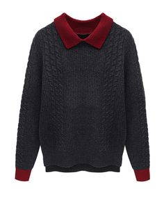 contrasting colors black with red collar sweater :}