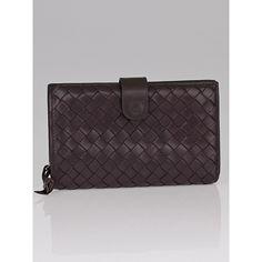 Pre-owned Bottega Veneta Ebano Intrecciato Woven Nappa Leather Wallet ($120) ❤ liked on Polyvore featuring bags, wallets, bottega veneta bags, bottega veneta, bottega veneta wallet, pre owned bags and woven bag