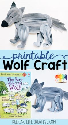 Making a themed-craft is our favorite way to supplement a favorite book and extend the learning. And this printable template makes a cut-and-paste wolf craft project so simple!