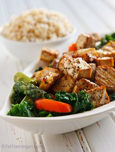 Thai Black Pepper and Garlic Tofu.  Now this is what we call a great dish! Introduce your family to spicy food with out the tearing.