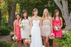 Great colors and stylish dresses, what a great looking bridal party!    Photo:  Cameron Ingalls
