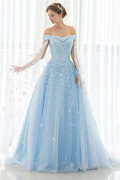Fantastic Ball Gown Off The Shoulder Light Blue Tulle Floral Beaded Wedding Dress - Braut Princess Prom Dresses, Pretty Prom Dresses, Blue Wedding Dresses, Tulle Prom Dress, Wedding Shoes, Dress Wedding, Tulle Wedding, Cinderella Prom Dresses, Bridal Dresses