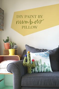 DIY Paint by Numbers Pillow + FREE Cactus Art with @SnapBox Prints