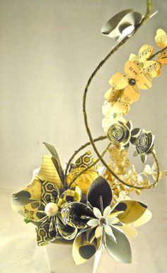 Paper Flower Centerpiece by threepearlspaperie on Etsy
