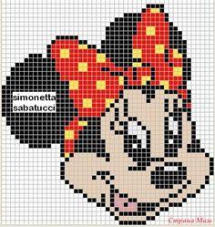 Minnie Mouse x-stitch Baby Cross Stitch Patterns, Cross Stitch Baby, Cross Stitch Kits, Cross Stitch Charts, Cross Stitch Designs, Graph Crochet, Pixel Crochet, Cross Stitching, Cross Stitch Embroidery