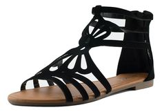 Anna Shoes - Nice-10 Women's Soft Cut Out Gladiator Design Flat Sandals -- Find out more about the great product at the image link. #womenshoe