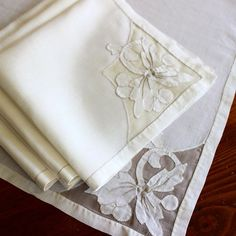 Vintage Linen Napkins Madeira 4 Dinner Organdy Floral by KerryCan