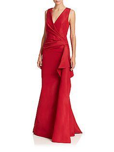Carolina Herrera Ruched Faille Gown