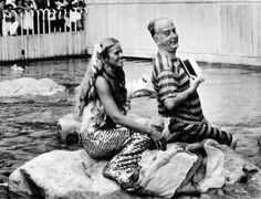 Debbie Walker and William Donald Schaefer at the @Evelyn Spencer Aquarium's grand opening in 1981. #mermaid