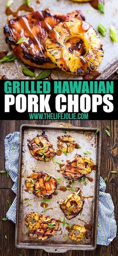 These Grilled Hawaiian Pork Chops are an easy recipe for a quick weeknight dinne. - These Grilled Hawaiian Pork Chops are an easy recipe for a quick weeknight dinner. Quick Meals To Make, Quick Weeknight Dinners, Easy Meals, Easy Dinner Meals, Quick Snacks, Healthy Recipes, Beef Recipes, Chicken Recipes, Cooking Recipes