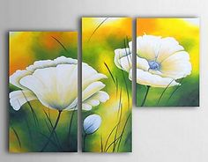 Home Decor - Wall Art - Oil Paintings - Floral Paintings - Hand-painted Floral Oil Painting with Stretched Frame - Set of 3 Modern Oil Painting, Oil Painting Flowers, Easy Paintings, Abstract Paintings, Oil Paintings, Oil Paint Set, Painting Lessons, Home Decor Wall Art, Flower Art