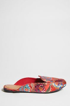Embroidered Slip-On Mules