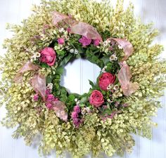 Dried Floral Wreath    #dried_flowers  #wreaths  #flowers Dry Flowers, Love Flowers, Wedding Flowers, Nifty Crafts, Botanical Decor, Craft Things, Blooming Rose, Spray Roses, Wreath Crafts