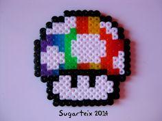 Seta super Mario Bros arco iris como broche y llavero. Si te gusta puedes adquirirla en nuestra tienda on-line: http://www.sugarshop.eu