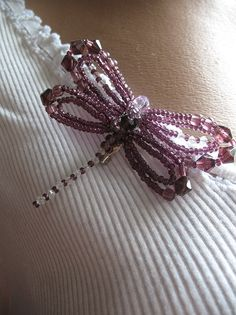 #Purple Beaded Dragonfly Brooch