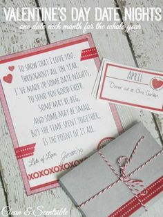 This is such a great gift idea for Valentine's Day! Come up with 12 dates - one for each month - to do throughout the year. Great to do with your partner or for your kids!