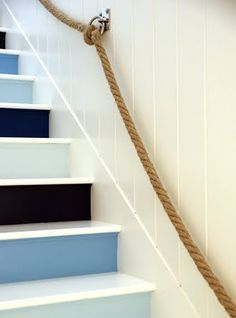 Trending Now: Painted Stairs I've always believed great design is all about the details. I like the painted stairs. but I LOVE the rope railing! Coastal Homes, Coastal Living, Coastal Decor, Beach Homes, Coastal Style, Coastal Paint, Nautical Style, Nautical Colors, Coastal Bedrooms