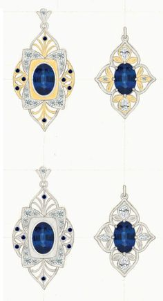 Custom pendant designs for a oval blue sapphire - Inspiration from Art Deco and traditional Indian jewelry motifs