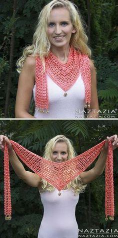 V Scarf, free pattern from Naztazia. 325 yds sport weight yarn, hook size 'G'. Nice lightweight accessory for warm weather. #crochet