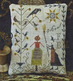 Fancey Blackett Shoo E-pattern Fall Cross Stitch, Cross Stitch Samplers, Cross Stitching, Cross Stitch Embroidery, Cross Stitch Patterns, Halloween Embroidery, Halloween Cross Stitches, Primitive Folk Art, Primitive Crafts