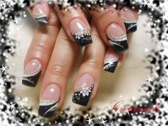 Cute Seasonal Black Tips Nail Art | AmazingNailArt.org