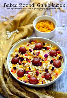 {Ramadan Special} – Baked Boondi & Gulab Jamun Pudding by Shaheen of 'Spoon Fork And Food' Eggless Desserts, Sweet Desserts, Sweet Recipes, Delicious Desserts, Yummy Food, Tasty, Eggless Baking, Baking Desserts, Indian Dessert Recipes