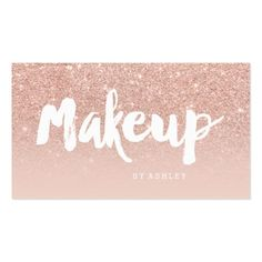 Makeup artist modern typography blush rose gold business card